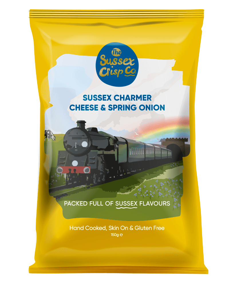 Sussex Charmer Cheese & Spring Onion crisps packet